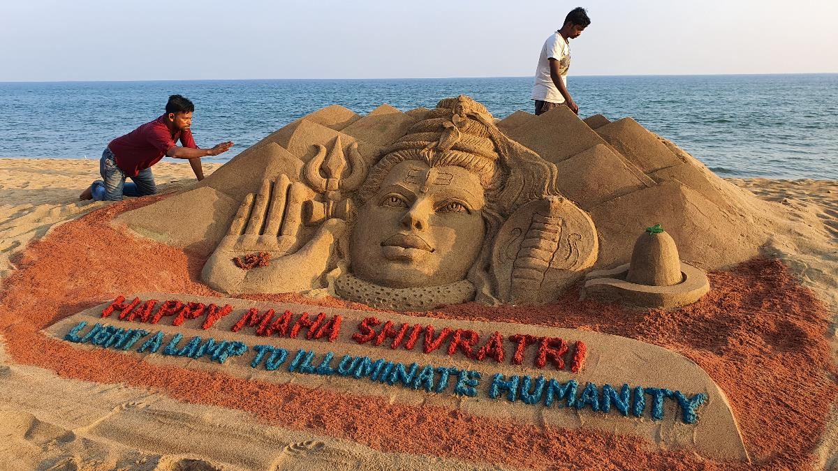 Lord Shiva Sand Art on the Golden Sea Beach